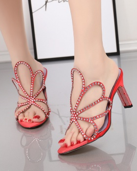 Rhinestone European style sandals sexy lazy shoes