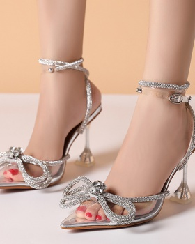 European style sexy high-heeled shoes diamond bow sandals