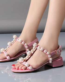 Pearl bow European style large yard sandals for women