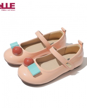 Girl child leather shoes small cherry children shoes