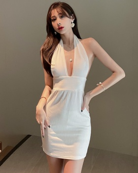 Summer sexy V-neck dress temperament package hip T-back