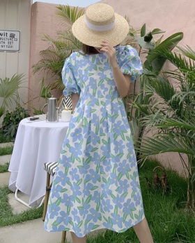Printing puff sleeve France style slim temperament dress