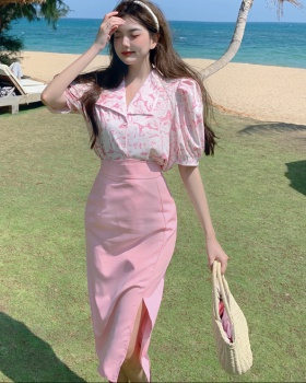 Summer fashion colors sweet skirt 2pcs set for women