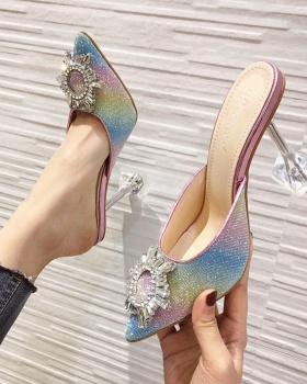 Transparent sequins colors high-heeled slippers