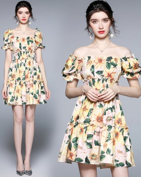 Square collar printing summer flowers puff sleeve dress