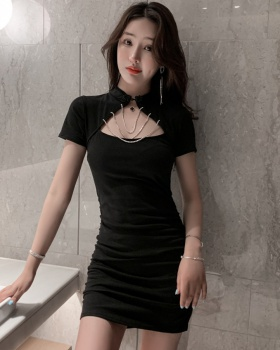 Fashion pure pinched waist hollow package hip summer dress