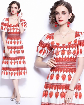 White France style printing retro long dress