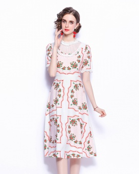Temperament pastoral style) court style floral fresh dress