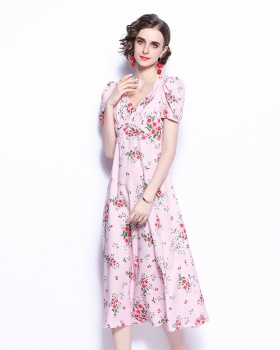 Printing France style dress summer floral long dress