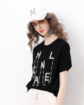 Fashion loose beading tops pure letters pure cotton T-shirt