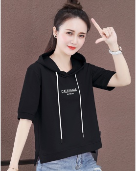 Spring and summer hooded T-shirt loose hoodie for women