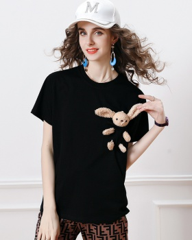 Doll loose pure cotton tops breathable rabbit T-shirt