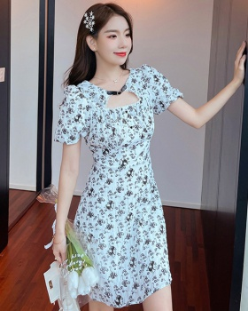 Pinched waist retro chiffon floral France style dress