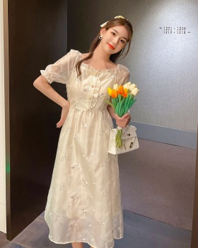 Lady puff sleeve summer temperament square collar dress