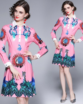 Printing animal shirt pinched waist dress for women