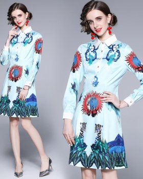 Long sleeve pinched waist shirt printing skirt for women