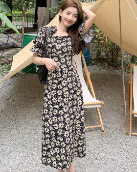 France style printing retro long pinched waist dress