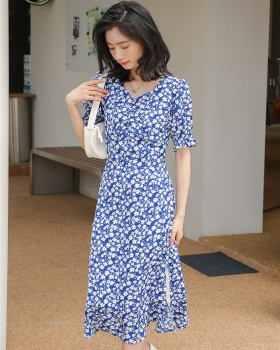 Summer floral France style retro chiffon dress