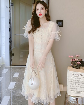 Lace beautiful summer pinched waist gauze France style dress
