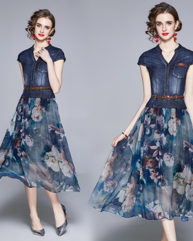 Slim splice Pseudo-two printing pinched waist summer dress