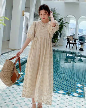 Splice loose France style vacation embroidery dress