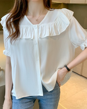 Wood ear thin France style shirt summer fashion tops