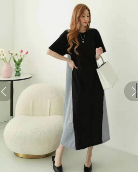 Fashion loose dress exceed knee splice long dress