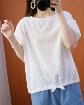 Loose large yard shirt hollow tops for women