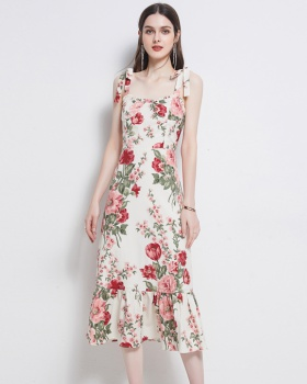 European style long vacation sling printing dress
