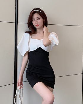 Slim square collar strapless package hip dress
