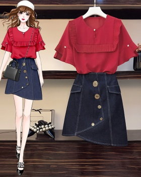 Loose summer tops Cover belly skirt a set for women