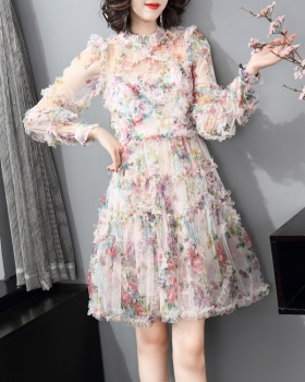 Spring wood ear short pinched waist beautiful dress
