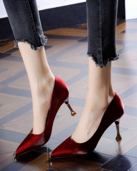 Metal satin high-heeled shoes mixed colors shoes for women