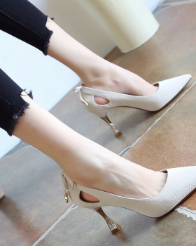 Fine-root white high-heeled shoes all-match shoes for women