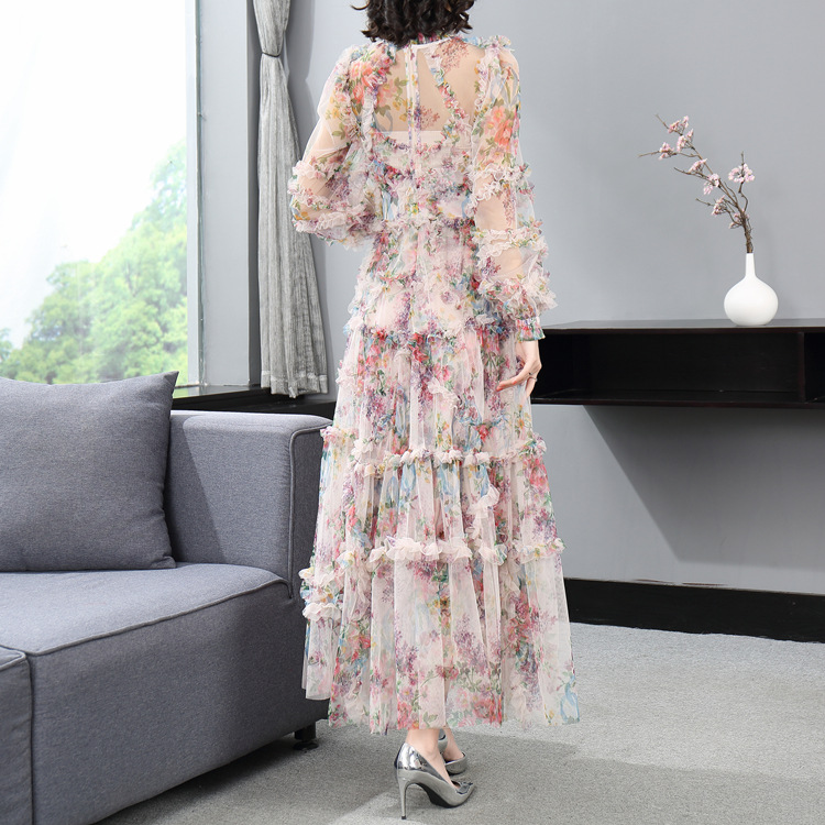 Lotus leaf edges gauze lantern sleeve dress