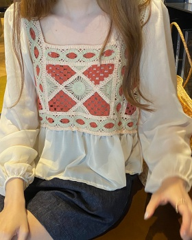 Korean style puff sleeve embroidery flowers hollow shirt