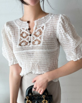 Hollow thin Korean style short sleeve sweater