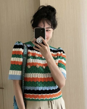 Stereoscopic hairball stripe knitted puff sleeve tops