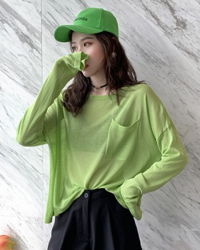 Loose Casual knitted T-shirt refreshing simple long sleeve tops
