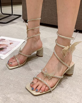 Shiny rome thick twining lady square head sandals for women