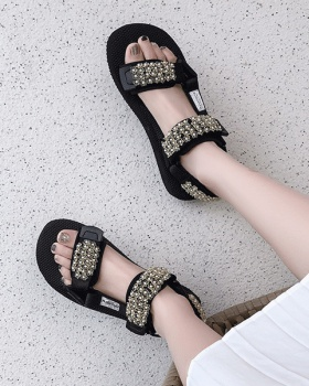 Casual velcro thick crust sandals summer flowers shoes