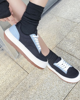 Round spring flat canvas shoes frenum Korean style shoes