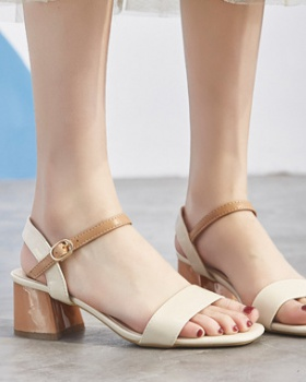 Fashion collocation lady sandals middle-heel thick skirt