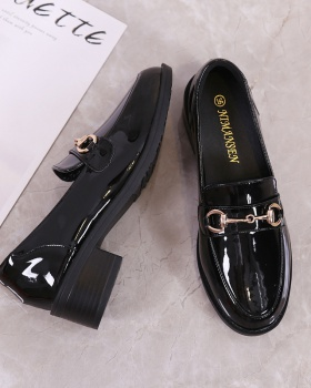 Middle-heel small leather shoes thick spring shoes for women