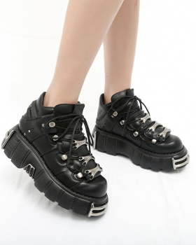 Punk style British style leather shoes thick crust shoes