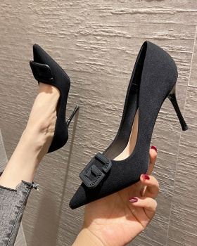 Fine-root sexy black high-heeled shoes pointed low shoes
