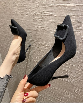 Pointed refreshing high-heeled shoes maiden fine-root shoes