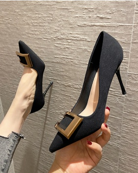 Black France style shoes maiden high-heeled shoes for women