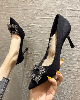 Pointed hasp shoes fine-root high-heeled shoes for women