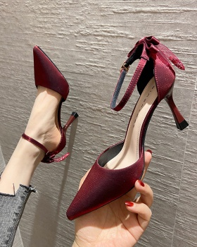 Fine-root banquet shoes bow high-heeled shoes for women